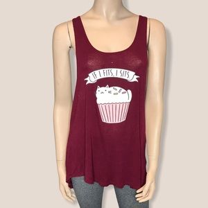 Cat Graphic Large Red Racerback Thin Tank Top